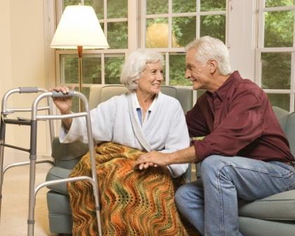 Elderly couple at home